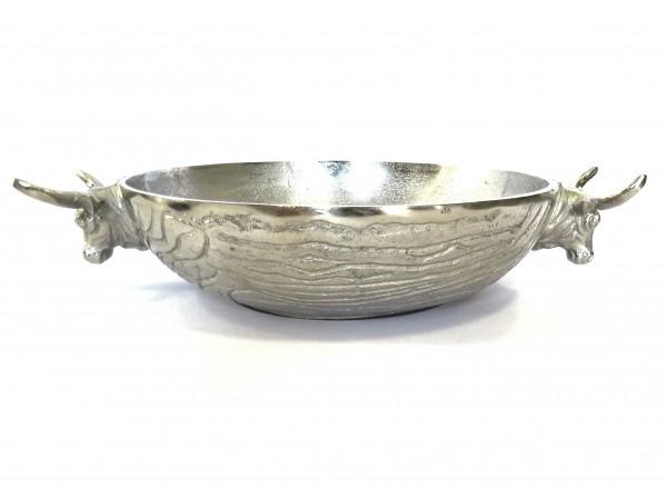 Schale Stierkopf Silber Metall Deko Weihnachten Colmore Bullenkopf 40 cm